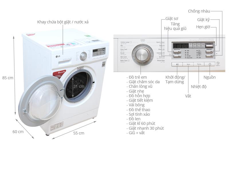 Thông số kỹ thuật Máy giặt LG 7 kg F1407NMPW