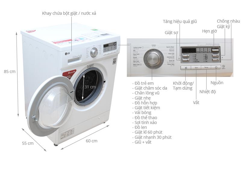 Thông số kỹ thuật Máy giặt LG 7 kg F1207NMPW