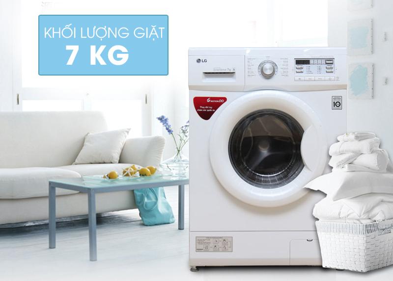 Máy giặt LG F1207NMPW có thiết kế gọn gàng với gam màu trắng nhạt