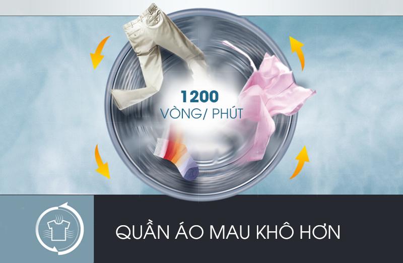 Với tốc độ vắt cao lên đến 1200 vòng trong 1 phút, máy giặt LG F1207NMPW có thể nhanh chóng làm khô quần áo