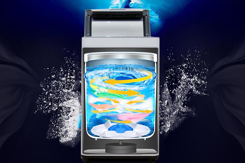 Với công nghệ luồng nước Dancing của máy giặt Panasonic 7 kg NA-F70VS7HCV, mâm giặt sẽ tạo ra luồng nước xoáy đa chiều