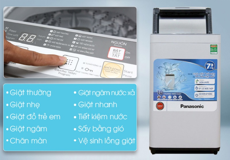 Máy giặt Panasonic 7 kg NA-F70VS7HCV được trang bị 10 chương trình giặt như giặt thường, giặt nhẹ, giặt ngâm nước xả, chăn màn,…