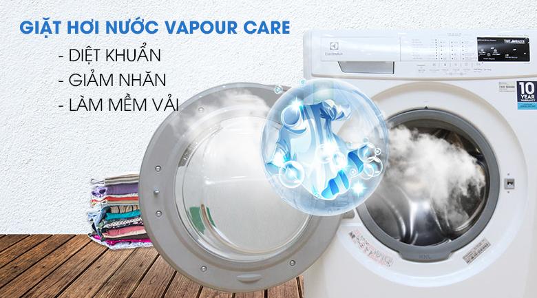 Công nghệ giặt hơi nước Vapour Care - Máy giặt Electrolux 8 kg EWF12843
