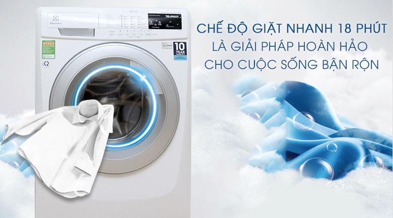 Chế độ giặt nhanh 18 phút - Máy giặt Electrolux 8 kg EWF12843