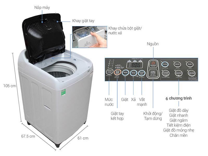 Thông số kỹ thuật Máy giặt Samsung 8.5 kg WA85J5712SG/SV
