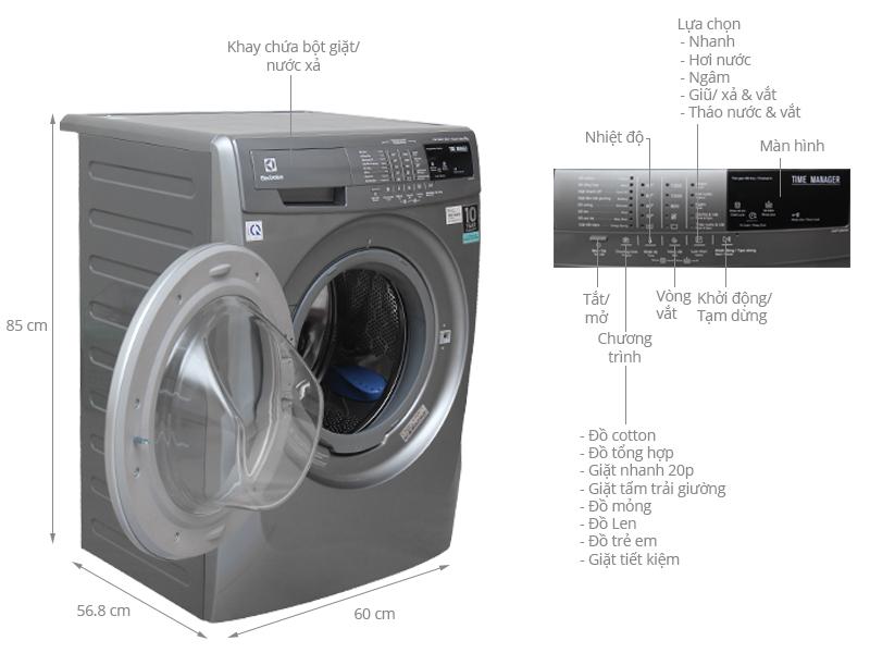 Thông số kỹ thuật Máy giặt Electrolux 8 kg EWF12844S
