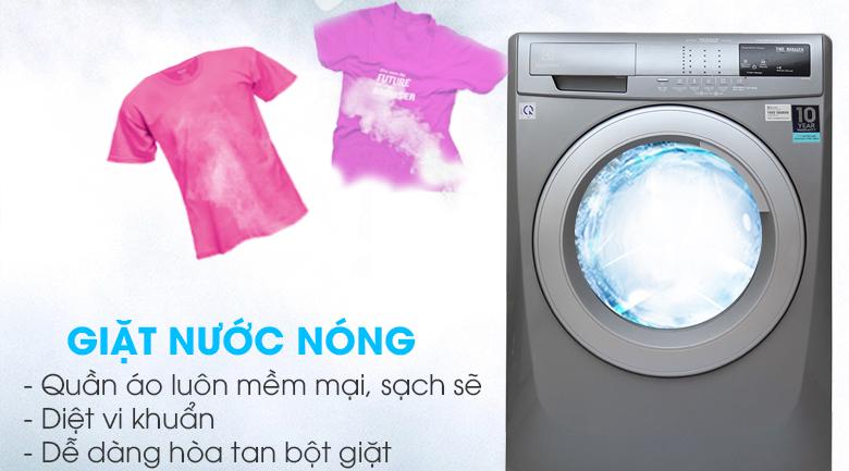 Giặt nước nóng - Máy giặt Electrolux Inverter 8 kg EWF12844S