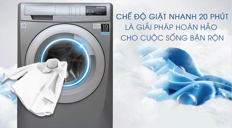 Chế độ giặt nhanh 20 phút - Máy giặt Electrolux Inverter 8 kg EWF12844S