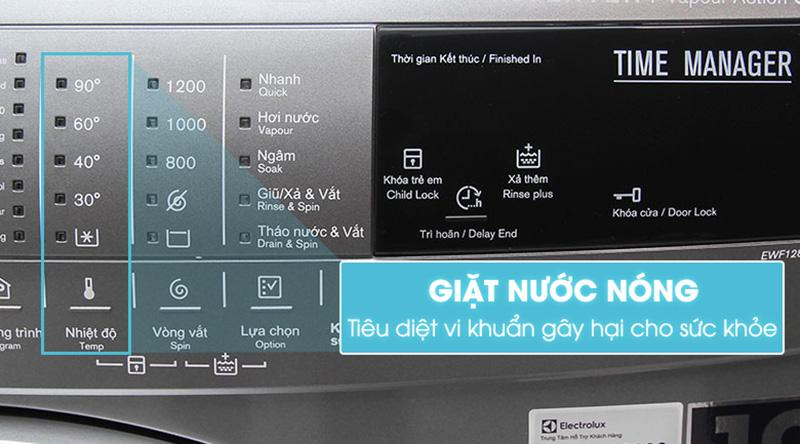 Máy giặt Electrolux EWF12844S giặt nước nóng sạch vi khuẩn