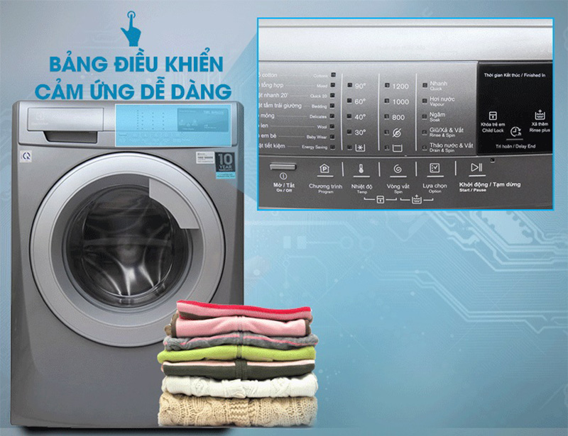 Máy giặt Electrolux EWF12844S điều khiển cảm ứng, đa dạng chế độ giặt