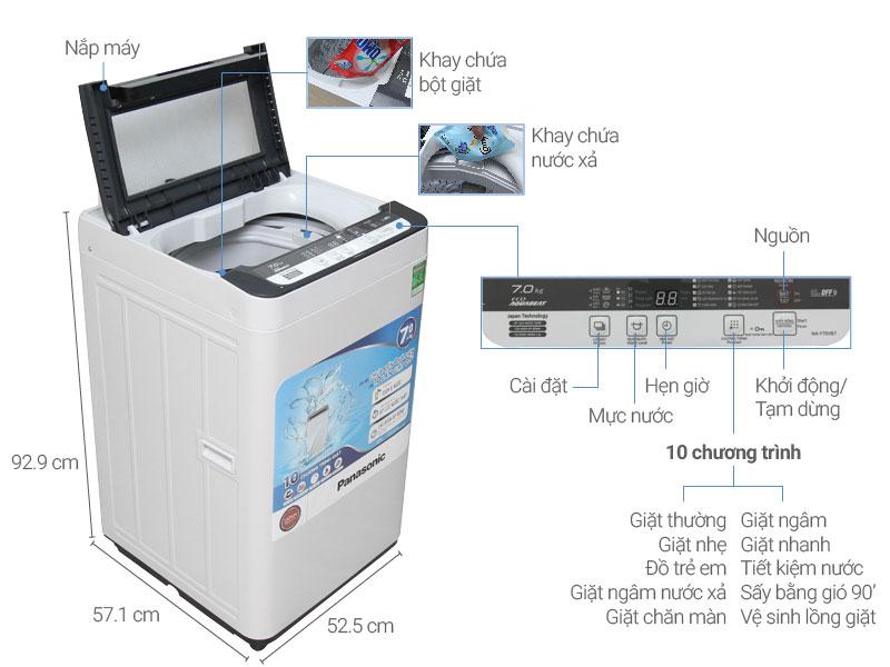 Thông số kỹ thuật Máy giặt Panasonic7 kg NA-F70VB7HRV