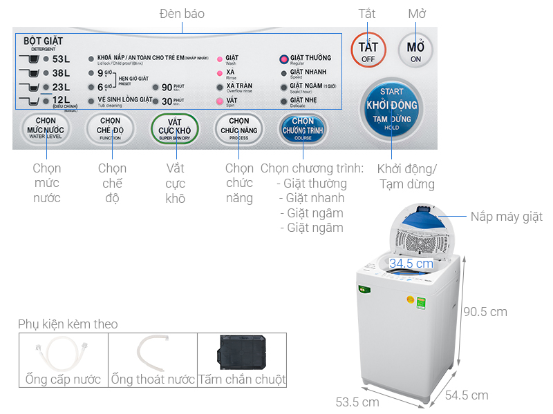Thông số kỹ thuật Máy giặt Toshiba 7 kg AW-A800SV WB