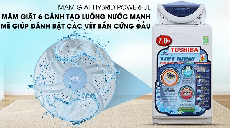 Mâm giặt Hybrid Powerful của máy giặt Toshiba AW-A800SV WB có 2 cánh không đối xứng