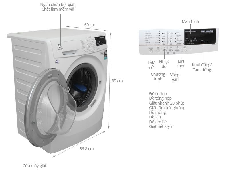 Thông số kỹ thuật Máy giặt Electrolux 7.5 kg EWF10744