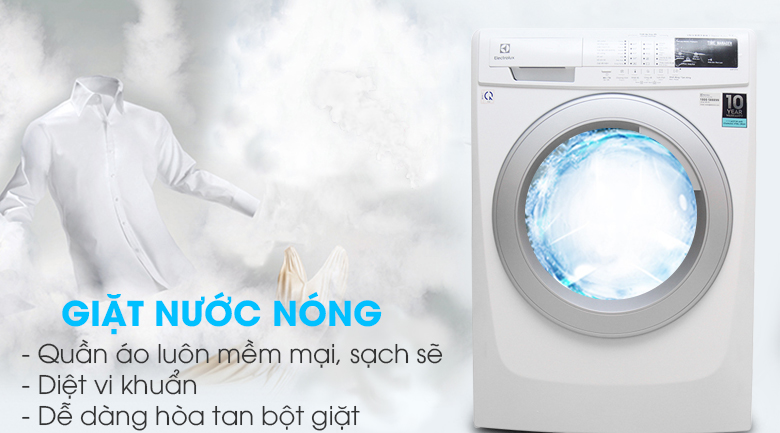 Tính năng giặt nước nóng - Máy giặt Electrolux Inverter 7.5 kg EWF10744