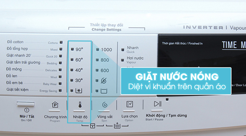 Máy giặt Electrolux EWF10744 giặt nước nóng diệt khuẩn hiệu quả