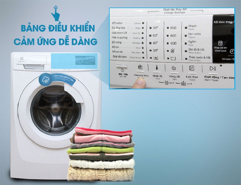 Máy giặt Electrolux EWF10744 dễ dàng tùy chỉnh với đa dạng chế độ giặt