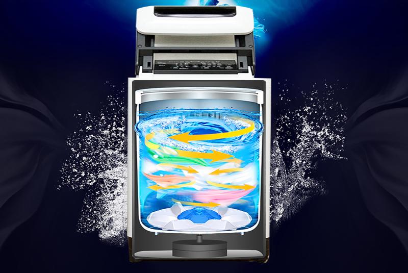Luồng nước Dancing của máy giặt Panasonic NA-F90A1GRV có sức mạnh vượt trội