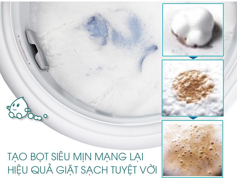 Hệ thống giặt Active Foam của máy giặt Panasonic NA-F90A1GRV tạo nhiều bọt li ti