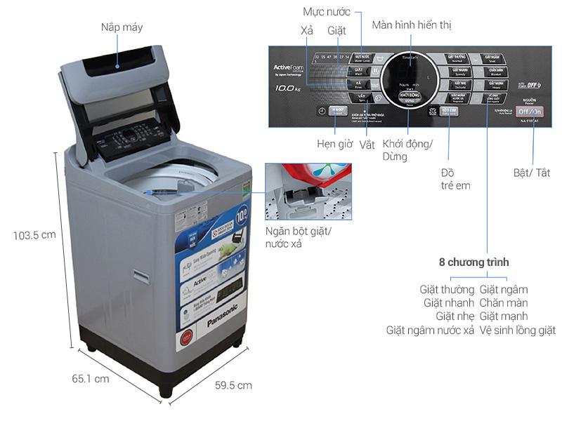 Thông số kỹ thuật Máy giặt Panasonic NA-F100A1GRV 10 kg