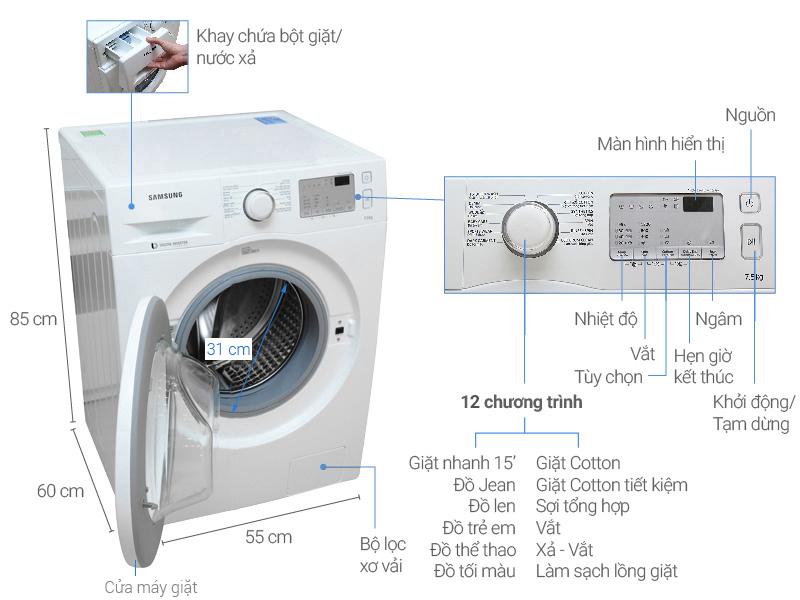 Thông số kỹ thuật Máy giặt Samsung inverter 7.5 kg WW75J4233KW/SV