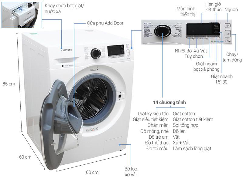 Thông số kỹ thuật Máy giặt Samsung AddWash Inverter 9 kg WW90K6410QW/SV