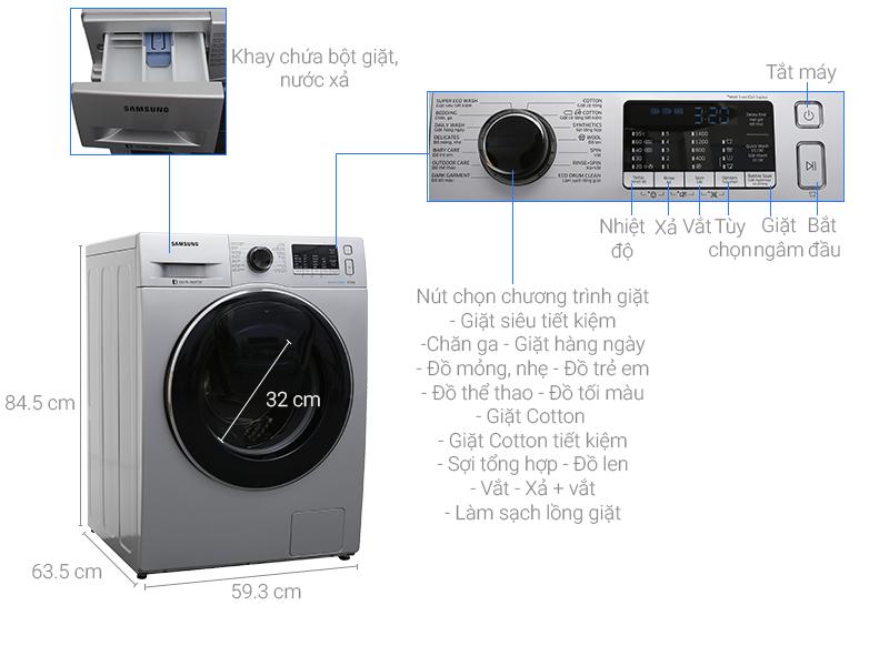 Thông số kỹ thuật Máy giặt Samsung AddWash Inverter 8 kg WW80K5410US/SV