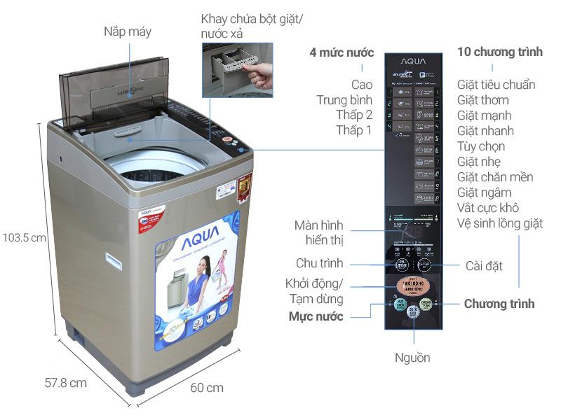 Thông số kỹ thuật Máy giặt Aqua 9 kg AQW-U90AT N