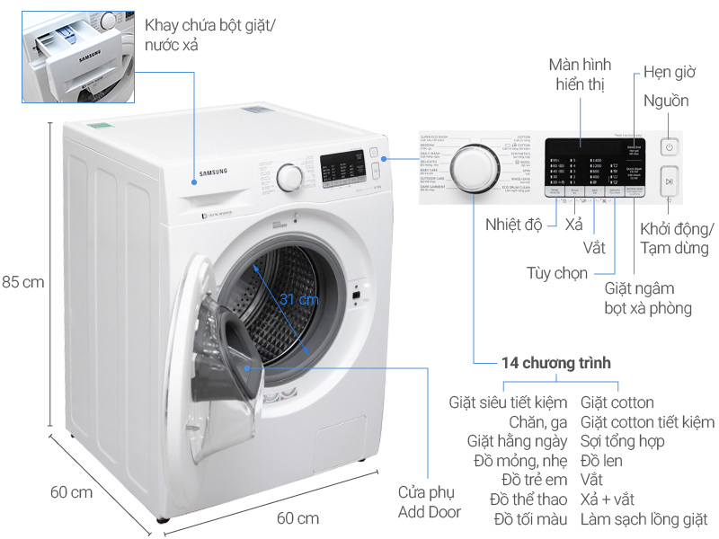 Thông số kỹ thuật Máy giặt Samsung AddWash inverter 8 kg WW80K5410WW/SV