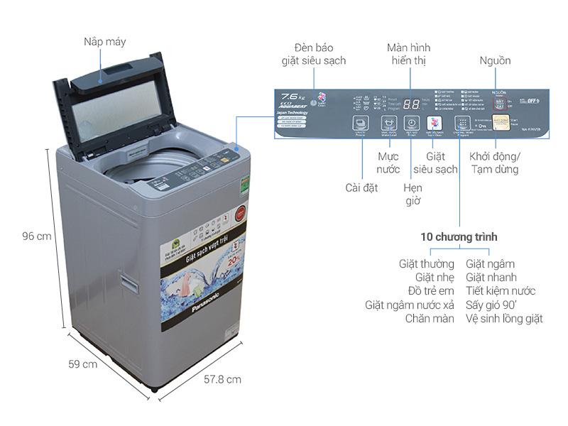 Thông số kỹ thuật Máy giặt Panasonic 7.6 kg NA-F76VS9GRV