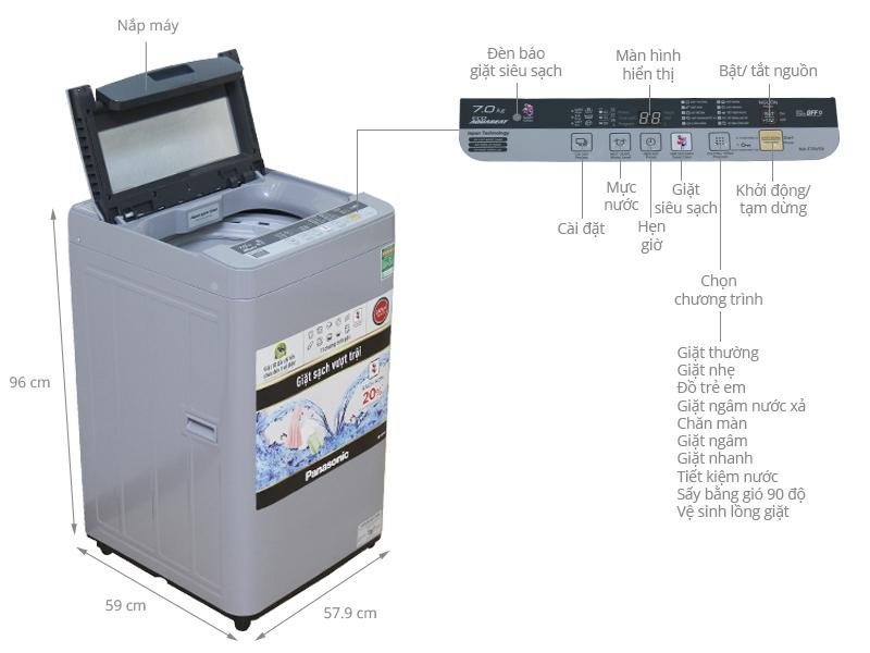 Thông số kỹ thuật Máy giặt Panasonic 7 kg NA-F70VS9GRV