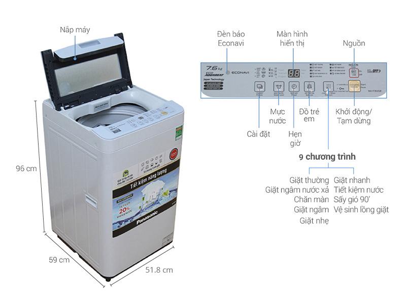 Thông số kỹ thuật Máy giặt Panasonic 7.6 kg NA-F76VG9HRV