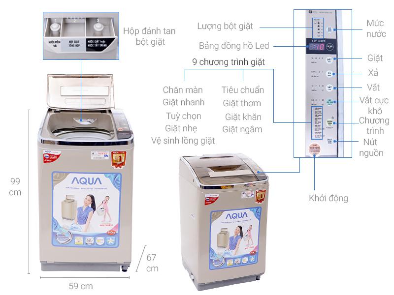 Thông số kỹ thuật Máy giặt Aqua Inverter 9 kg AQW-D901AT N