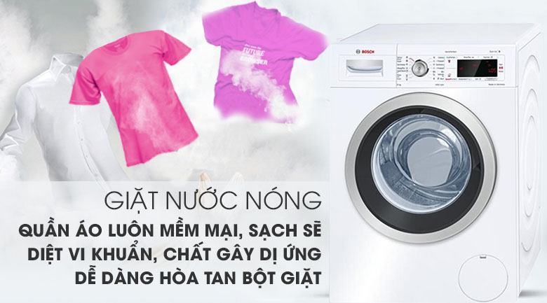 Giặt nước nóng - Máy giặt Bosch Inverter 8 KG WAW28480SG