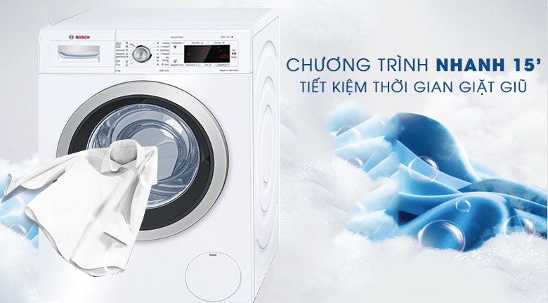 Giặt nhanh 15 phút - Máy giặt Bosch Inverter 8 KG WAW28480SG
