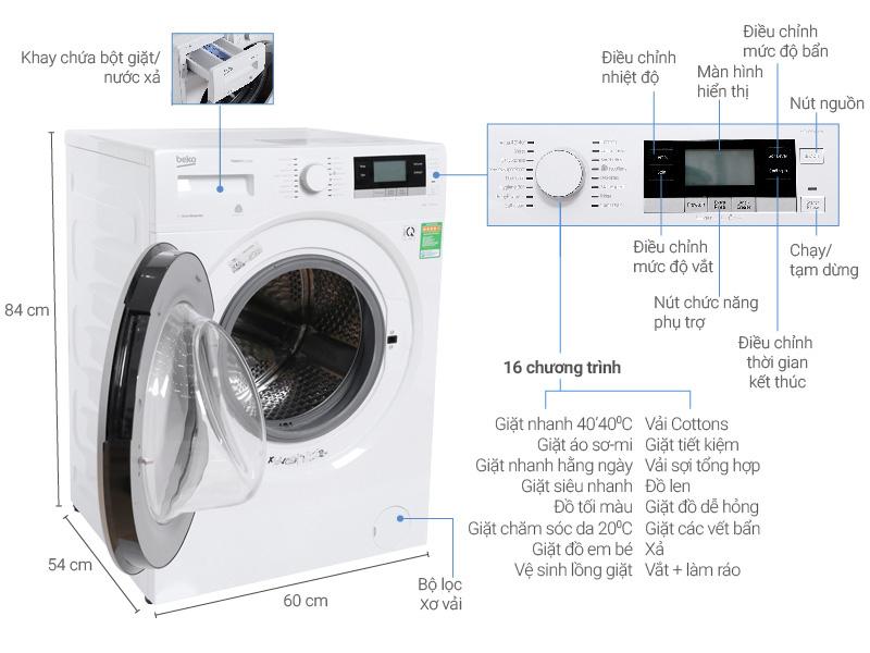 Thông số kỹ thuật Máy giặt Beko inverter 8 kg WTV 8634 XS0