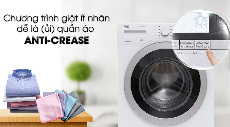 Chương trình giặt ít nhăn Anti-Crease - Máy giặt Beko inverter 8 kg WTV 8634 XS0