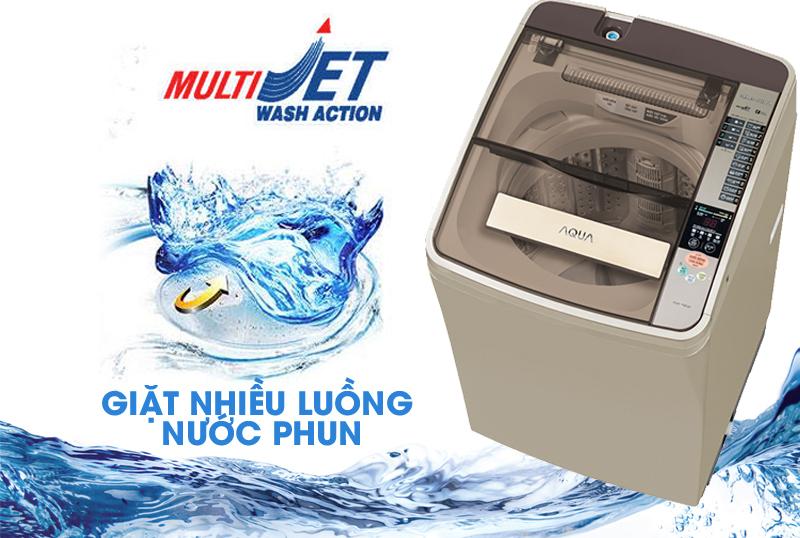 công nghệ giặt nhiều luồng nước phun trên máy giặt AQUA 8 kg AQW-F800AT