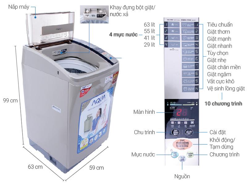 Thông số kỹ thuật Máy giặt AQUA 8 kg AQW-U800AT N