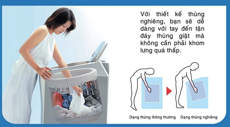 Lồng nghiêng - Máy giặt AQUA 8 kg AQW-U800AT