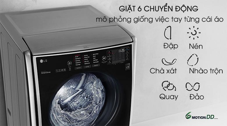 Công nghệ giặt mô phỏng bàn tay con người - Máy giặt LG Twinwash Inverter F2721HTTV & T2735NWLV