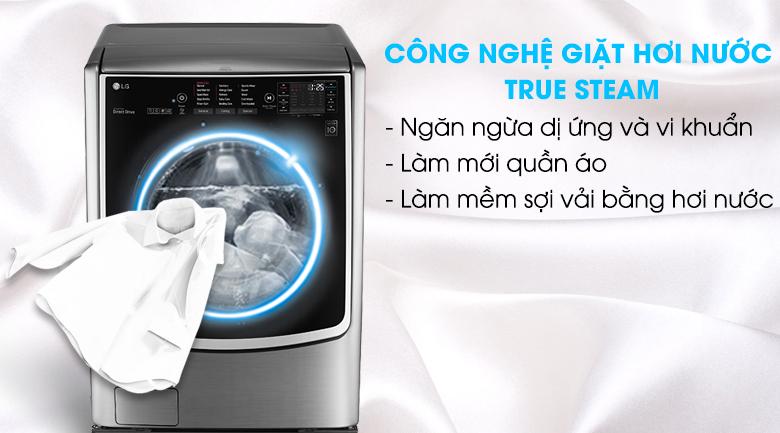 Kháng khuẩn cho quần áo nhờ chế độ giặt hơi nước - Máy giặt LG Twinwash Inverter F2721HTTV & T2735NWLV