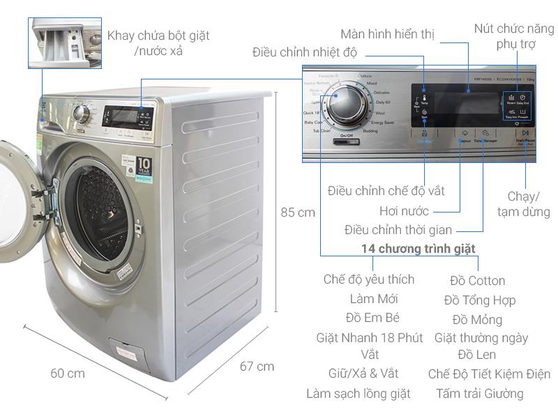 Thông số kỹ thuật Máy giặt Electrolux 10 kg EWF14023S