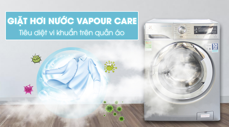 Công nghệ giặt hơi nước Vapour Care - Máy giặt Electrolux Inverter 10 kg EWF14023S