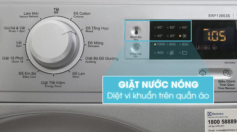 Chế độ giặt nước nóng - Máy giặt Electrolux Inverter 8 kg EWF12853S
