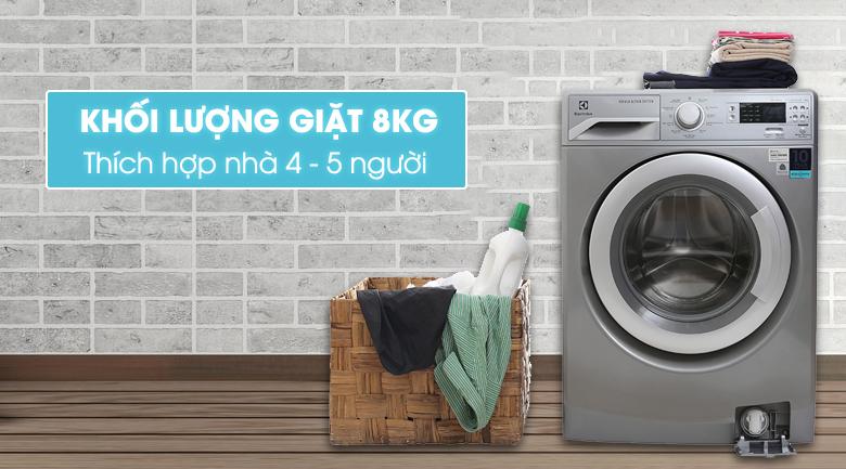 Khối lượng giặt - Máy giặt Electrolux Inverter 8 kg EWF12853S