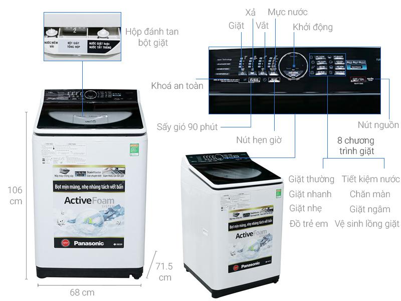 Thông số kỹ thuật Máy giặt Panasonic 11.5 kg NA-F115A5WRV