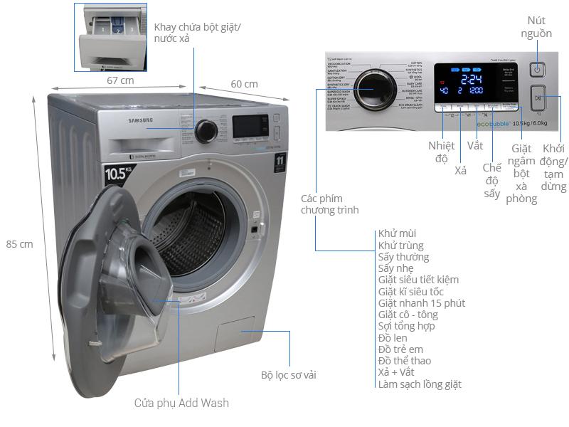 Thông số kỹ thuật Máy giặt sấy Samsung Inverter 10.5 kg WD10K6410OS/SV