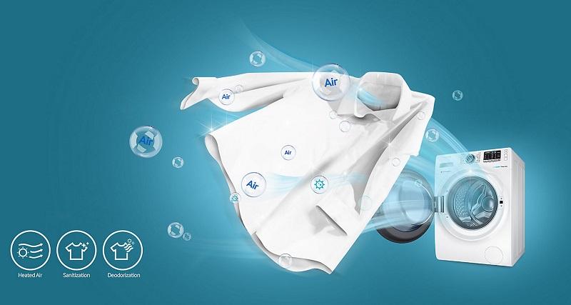 tính năng giặt hơi Air Wash khử mùi và kháng khuẩn mạnh mẽ