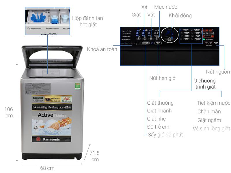 Thông số kỹ thuật Máy giặt Panasonic 11.5 kg NA-F115V5LRV